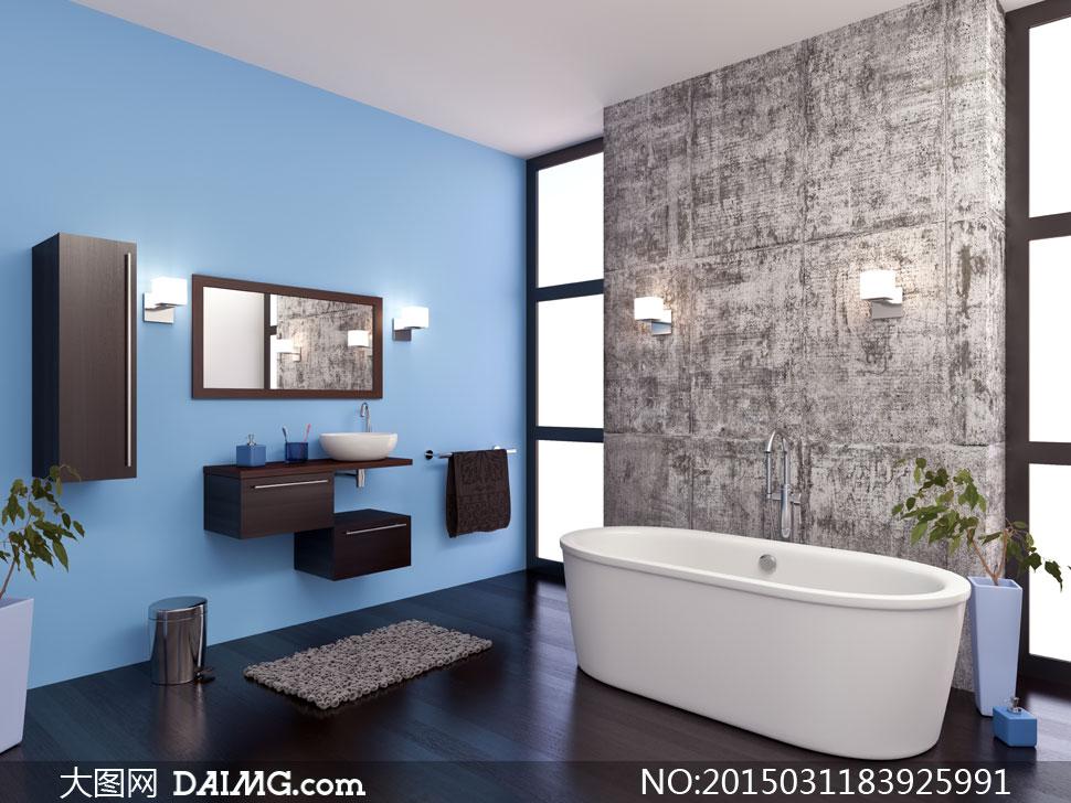 洗手台垃圾桶地垫木地板窗户浴缸水龙头植物蓝色颓废