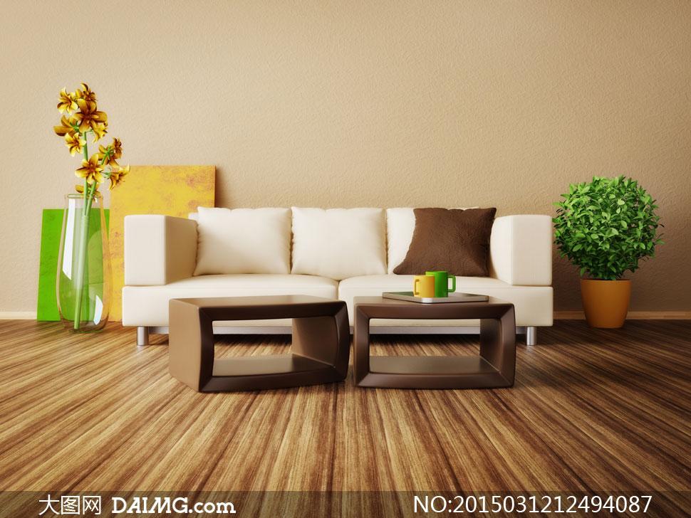 客厅花卉植物与沙发等摄影高清图片