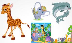 猴子大象与狮子等卡通动物矢量素材