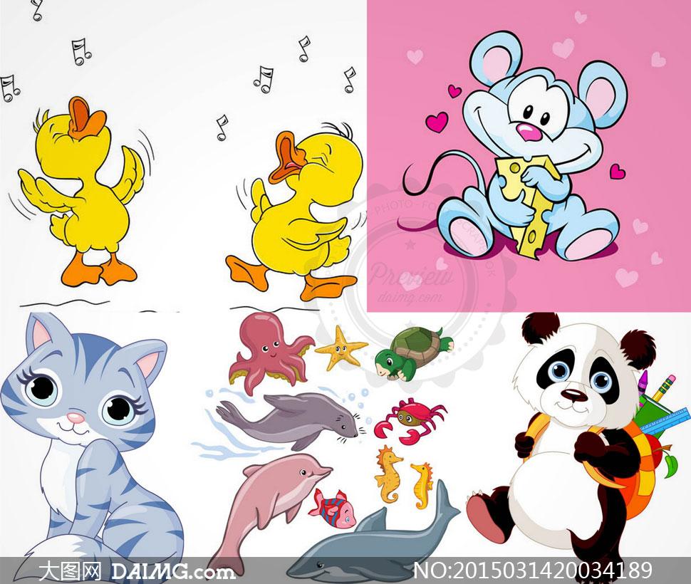 矢量素材矢量图卡通可爱动物小黄鸭小鸭子唱歌音符