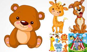 玩具熊与梅花鹿狗狗等卡通矢量素材