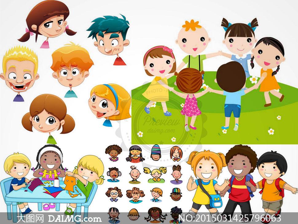 矢量素材矢量图卡通可爱人物小孩儿童小