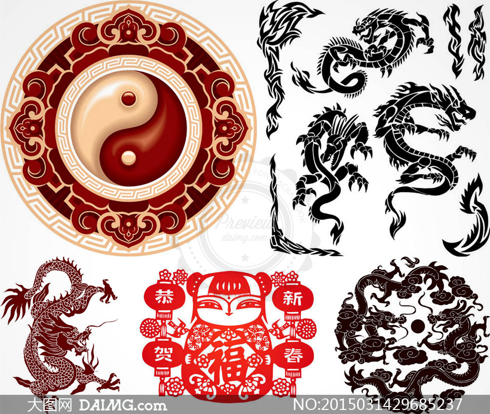 龙纹等中国风传统古典纹饰矢量素材