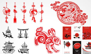 龙纹祥云挂饰与日本寿司等矢量素材