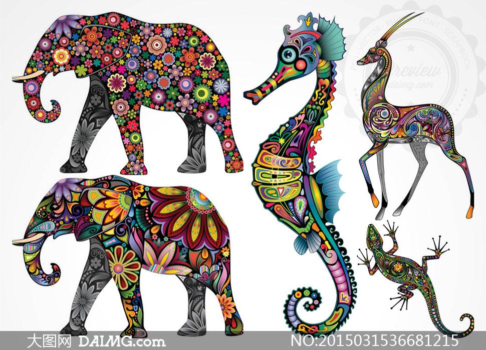 矢量素材矢量图创意设计图案动物彩色炫彩炫丽刺青纹身花纹大象壁虎