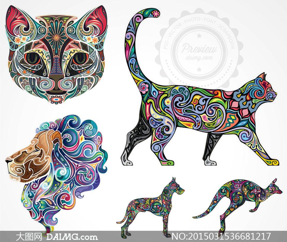 炫丽刺青纹身花纹图案动物猫头袋鼠猫咪狮头狗狗猫狗