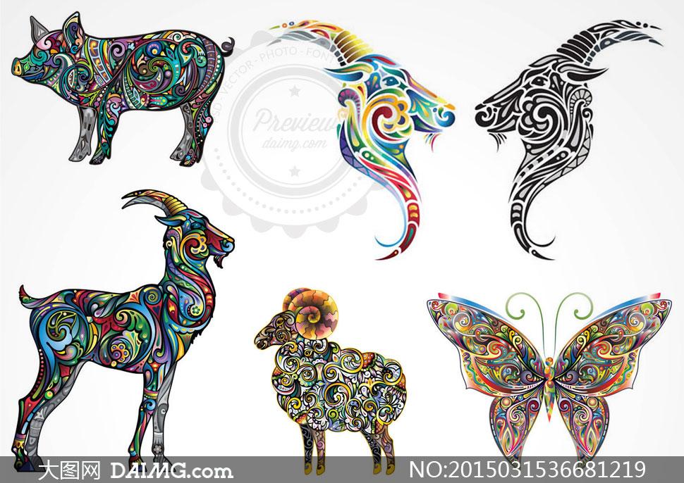 彩色动物纹身刺青图案矢量素材v5