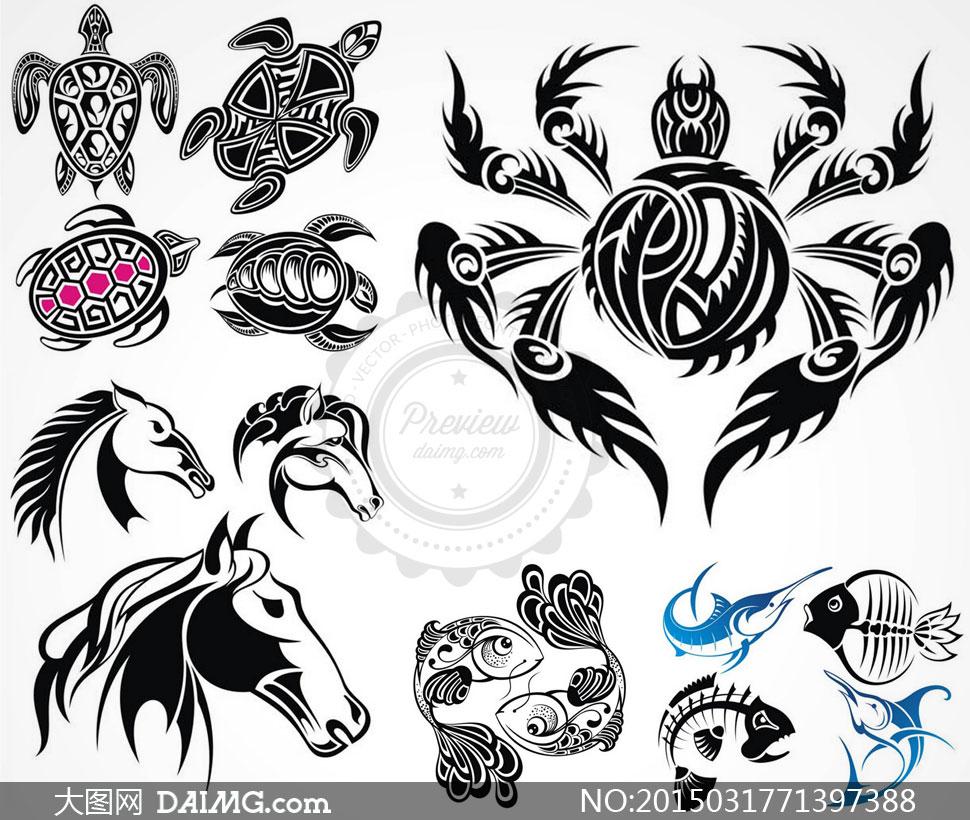 矢量素材矢量图纹身刺青黑白动物图案黑色