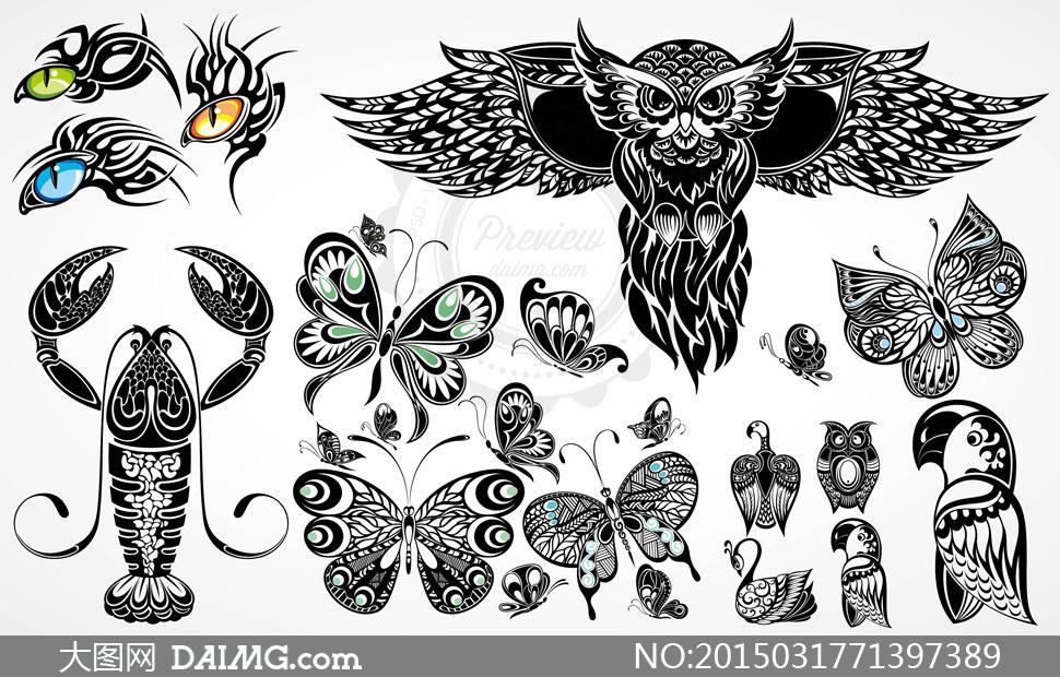 图纹身刺青黑白动物图案黑色虾蝴蝶猫头鹰创意设计