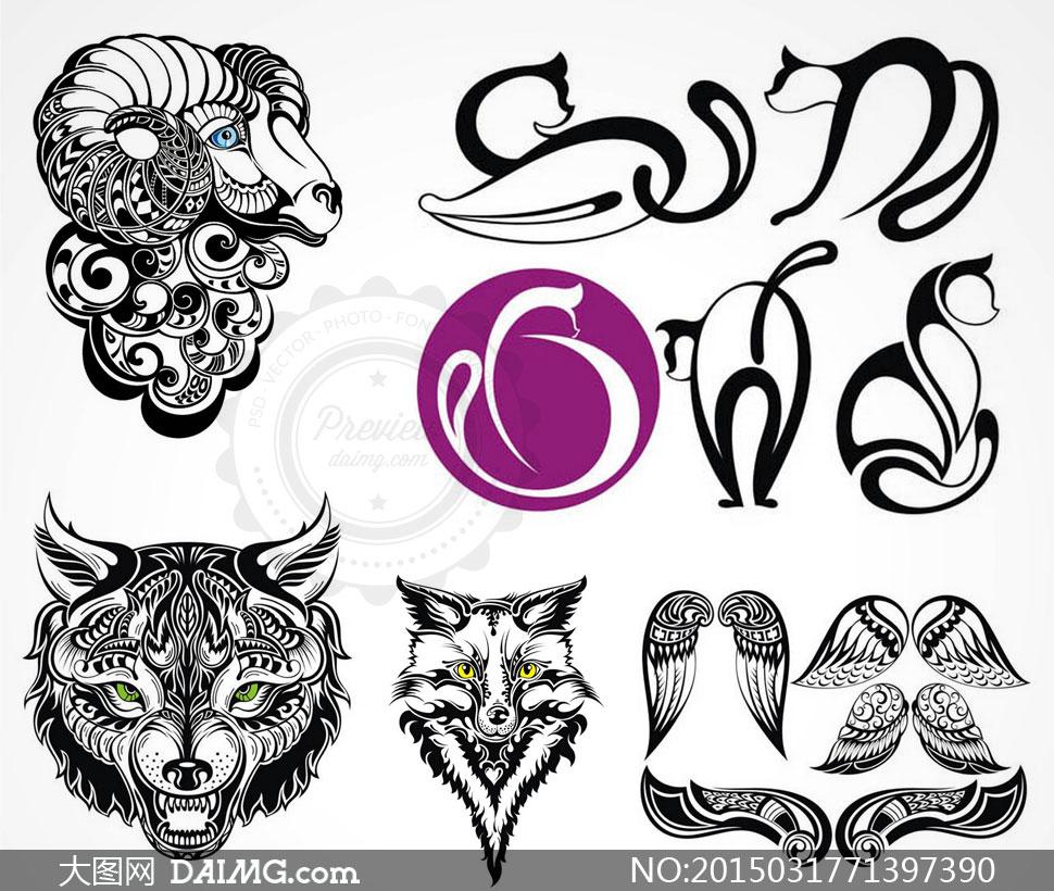 个人矢量技能创意设计素材刺青v4平面设计师纹身图案介绍图片