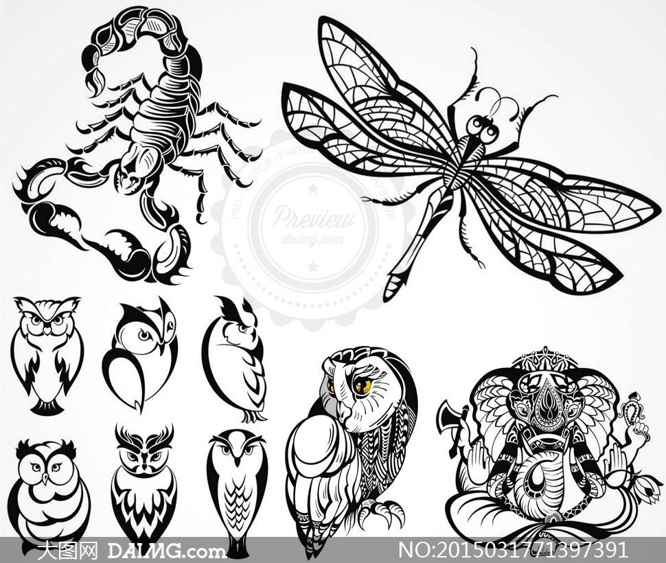 纹身刺青图案创意设计矢量素材v5