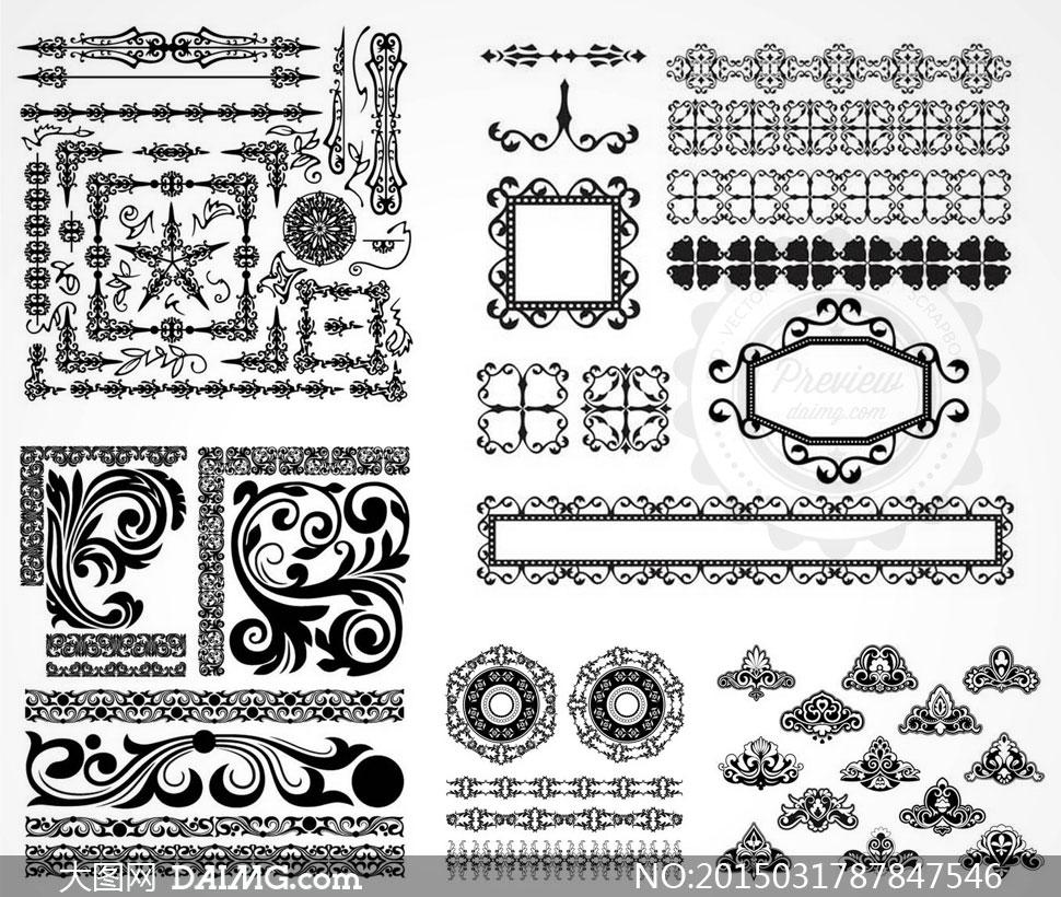 矢量图黑白黑色花纹花边纹饰装饰边框欧式怀旧复古