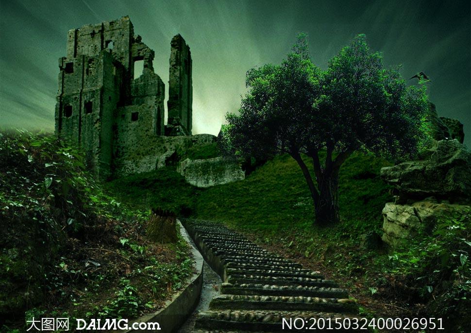 暗夜风格的森林城堡效果ps教程素材