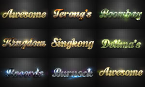 8款绚丽质感的立体字PSD模板V3