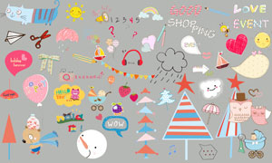 儿童相册模板适用的装饰素材V.02
