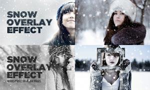 数码照片添加逼真的下雪效果PSD模板