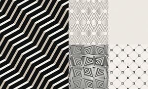 黑白色调四方连续底纹背景矢量素材图片