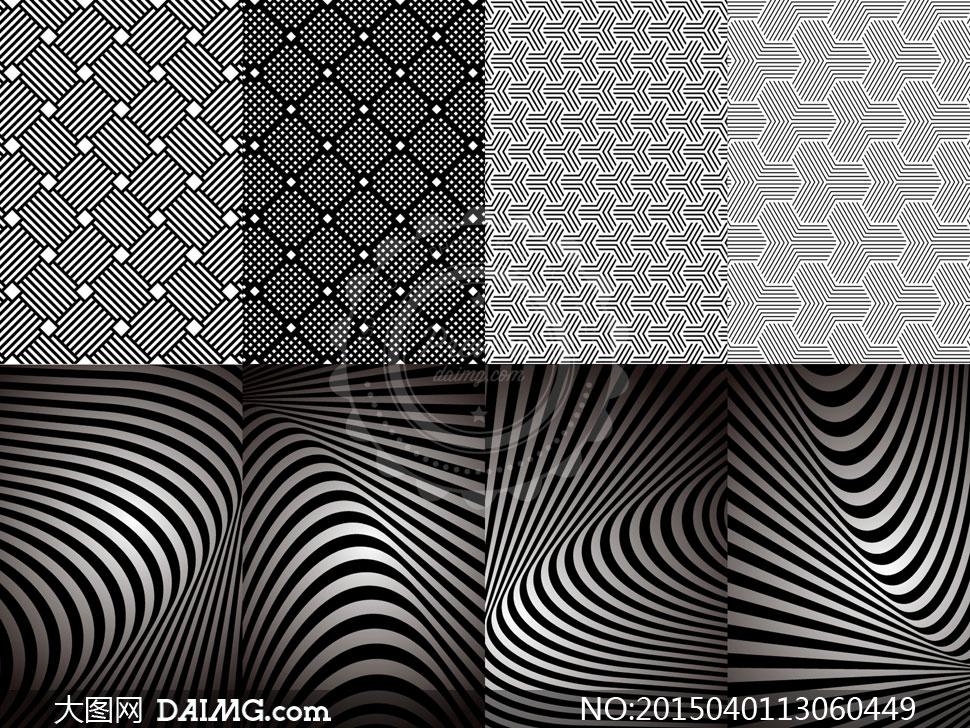 黑白填充图案与平面构成等矢量素材图片