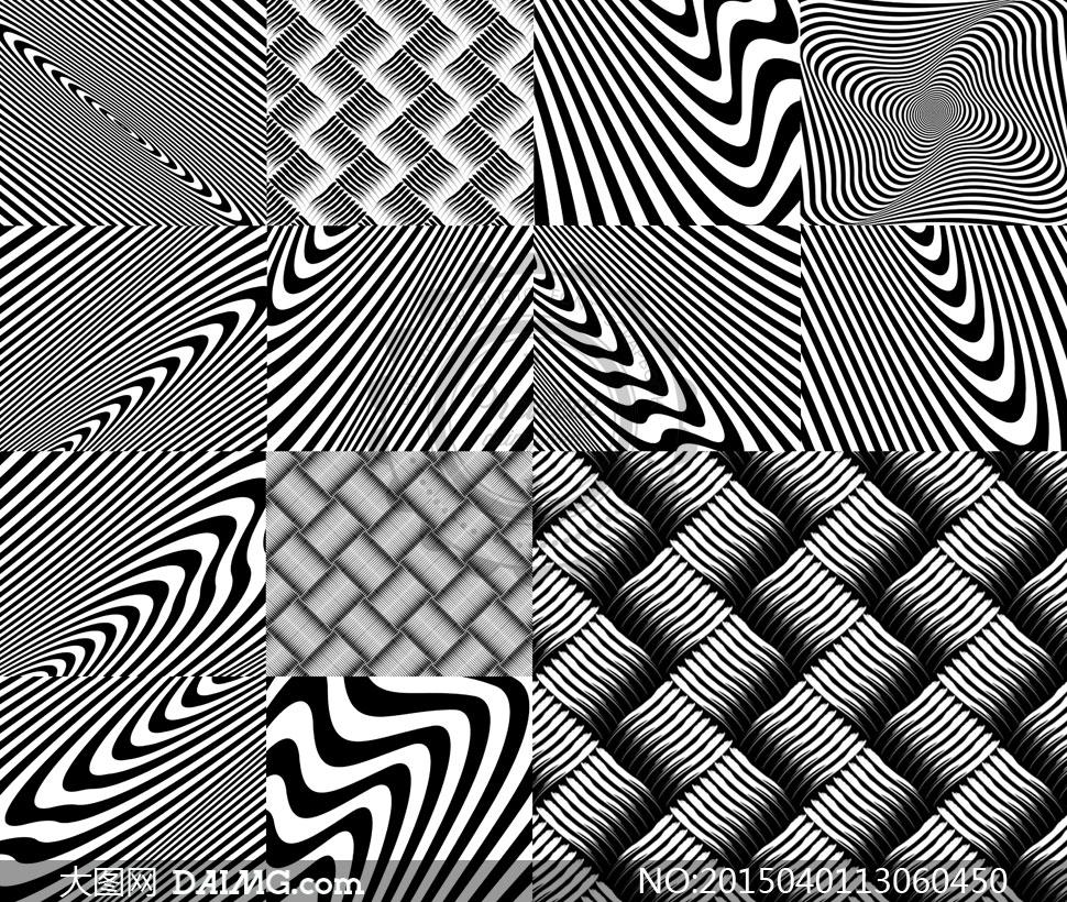 黑白底纹填充图案创意设计矢量素材图片