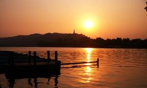 杭州西湖夕阳美景摄影图片