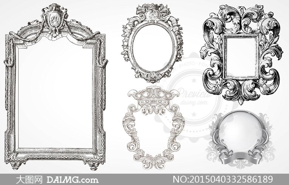 设计元素边框装饰复古怀旧欧式欧风花纹花边黑白古典