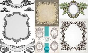 欧洲古典风格花纹边框设计矢量素材图片