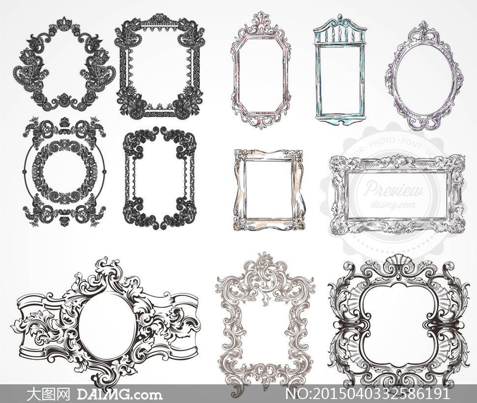 矢量素材矢量图设计元素边框装饰复古怀旧欧式欧风