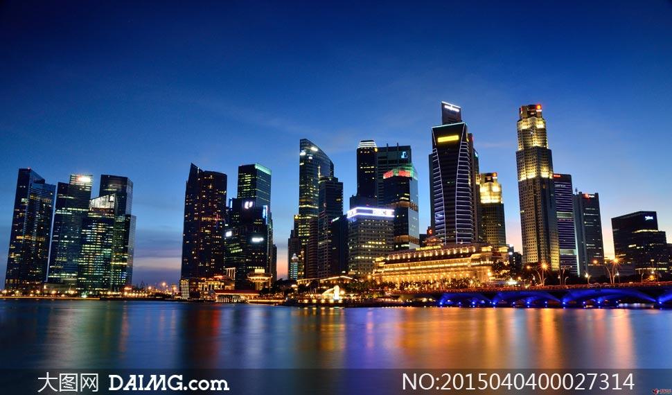 新加坡海滨湾夜景摄影图片