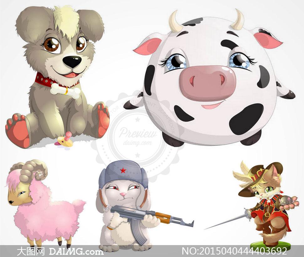 痞气猫咪与傲娇小羊等卡通矢量素材