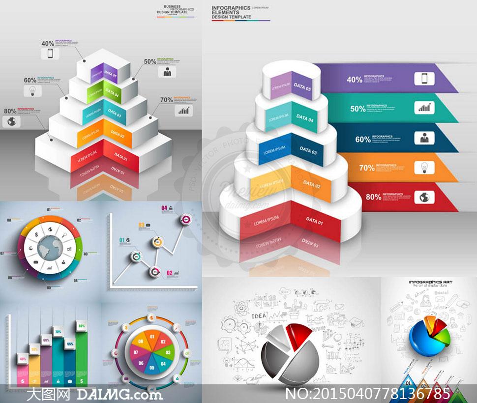 创意设计几何立体质感图标炫酷炫彩台阶环形图饼状图