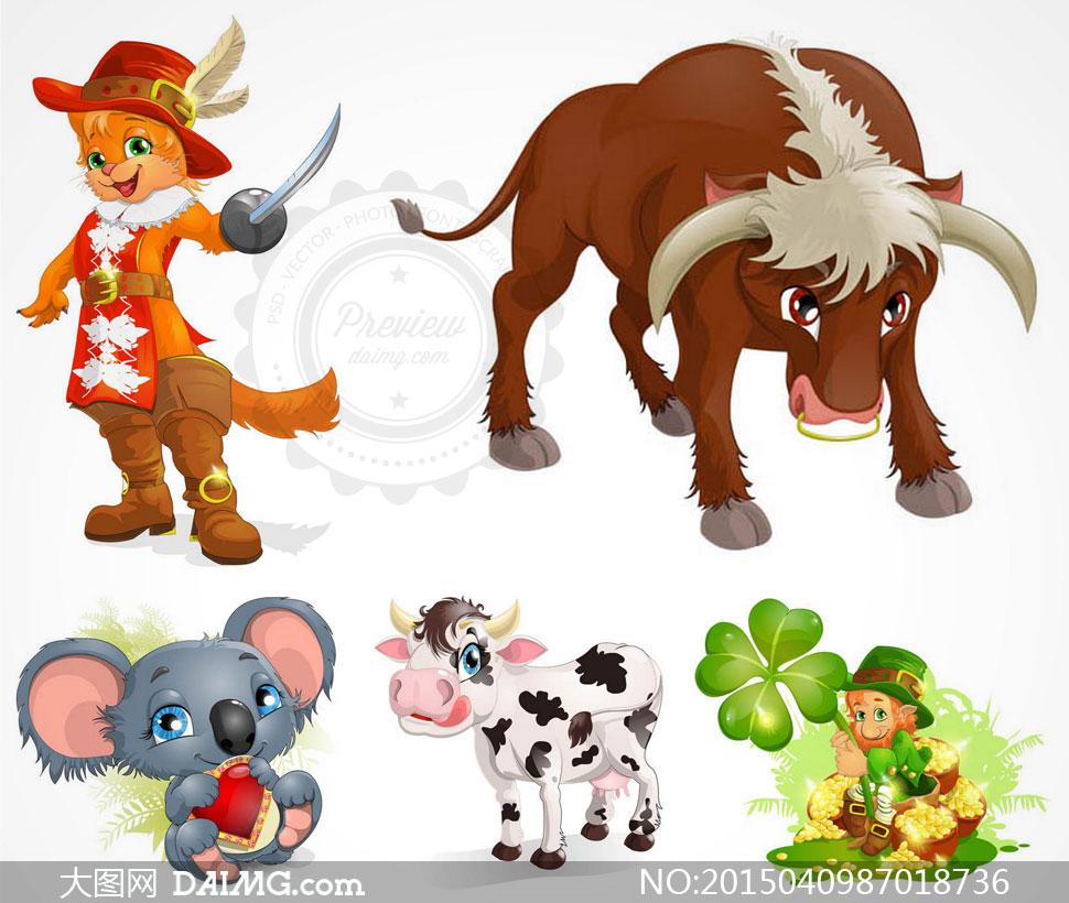 靴子猫奶牛与考拉熊等卡通矢量素材