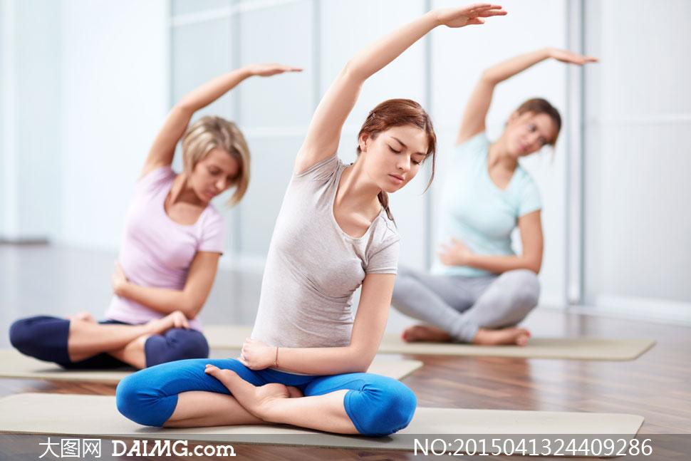 美女女人女性运动瑜伽健身健康短袖蓝色七分裤t恤衫