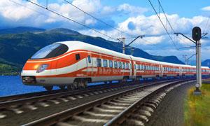 蓝天白云与列车等风光
