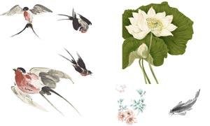 中国风水墨鱼和燕子笔刷