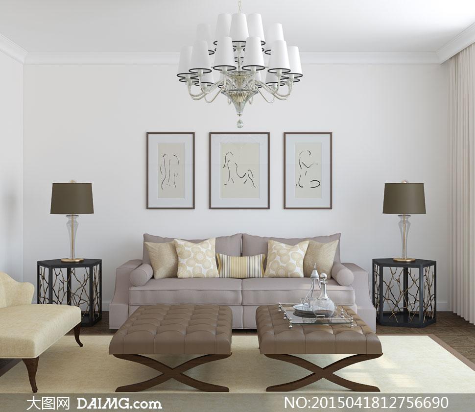 客厅房间家具摆设内景摄影高清图片