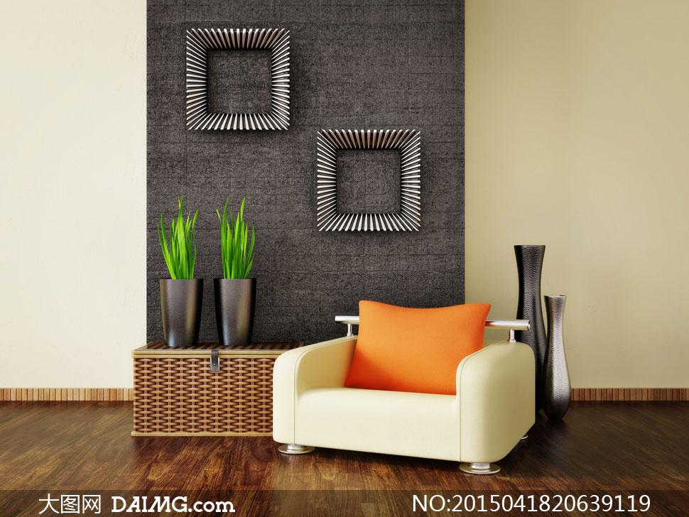 室内沙发枕头与装饰品摄影高清图片
