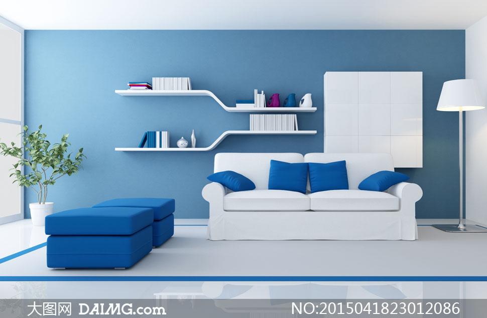 房间沙发家具与置物架摄影高清图片