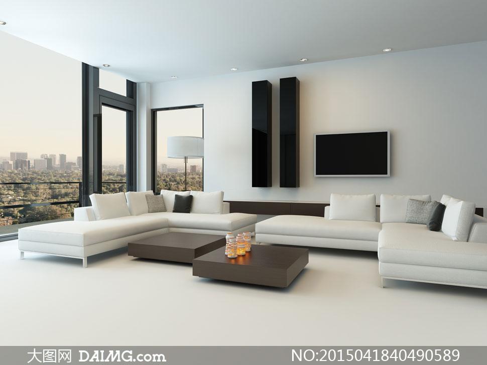 观景房客厅沙发组合等摄影高清图片