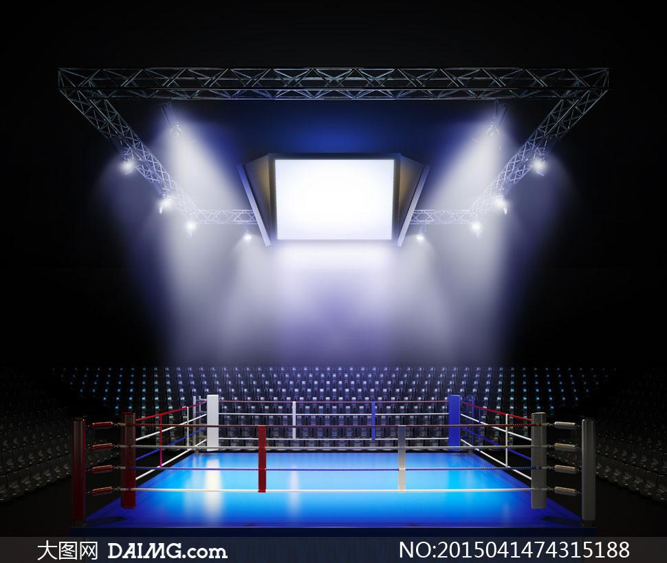 在耀眼灯光下的拳击台摄影高清图片