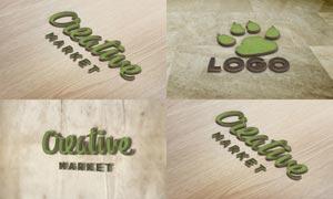 3款立体字和LOGO展示效果PSD模板