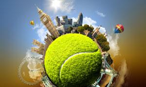 网球元素建筑物极坐标创意高清图片