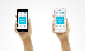 在手里的苹果手机展示效果贴图模板