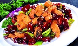 重庆辣子鱼美食菜品摄影图片