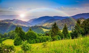 早晨阳光下山林美景摄影图片图片