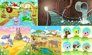 卡通风格自然风景与动物等矢量素材
