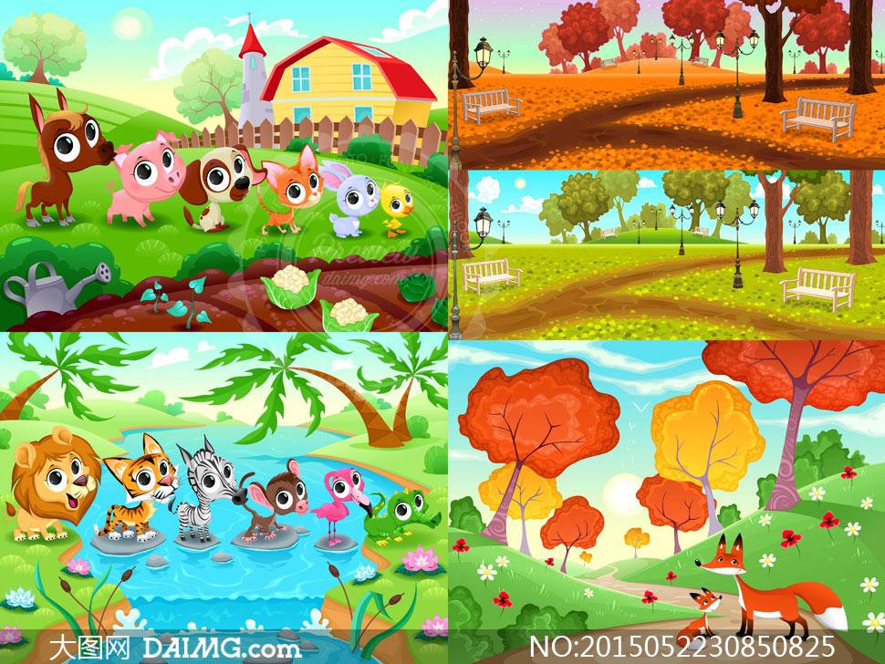 风景与排好队的小动物卡通矢量素材
