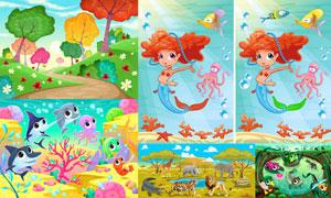卡通可爱小动物与自然风景矢量素材