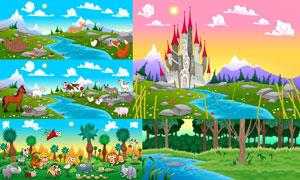 卡通风自然风光与可爱动物矢量素材