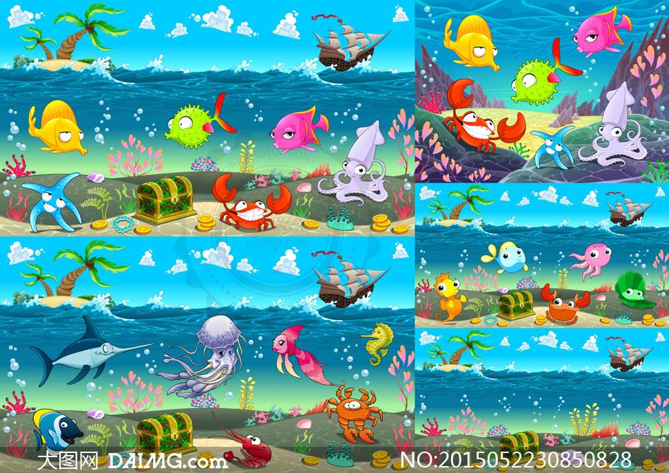 可爱卡通海底世界自然风光矢量素材