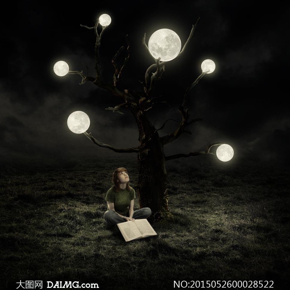 月亮树下的小女孩ps合成教程素材